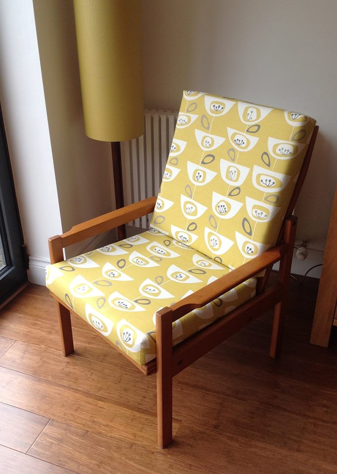 mid century chair reupholstered