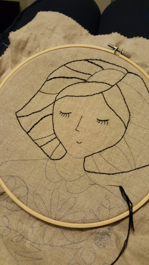 Stylish black thread embroidery in the making